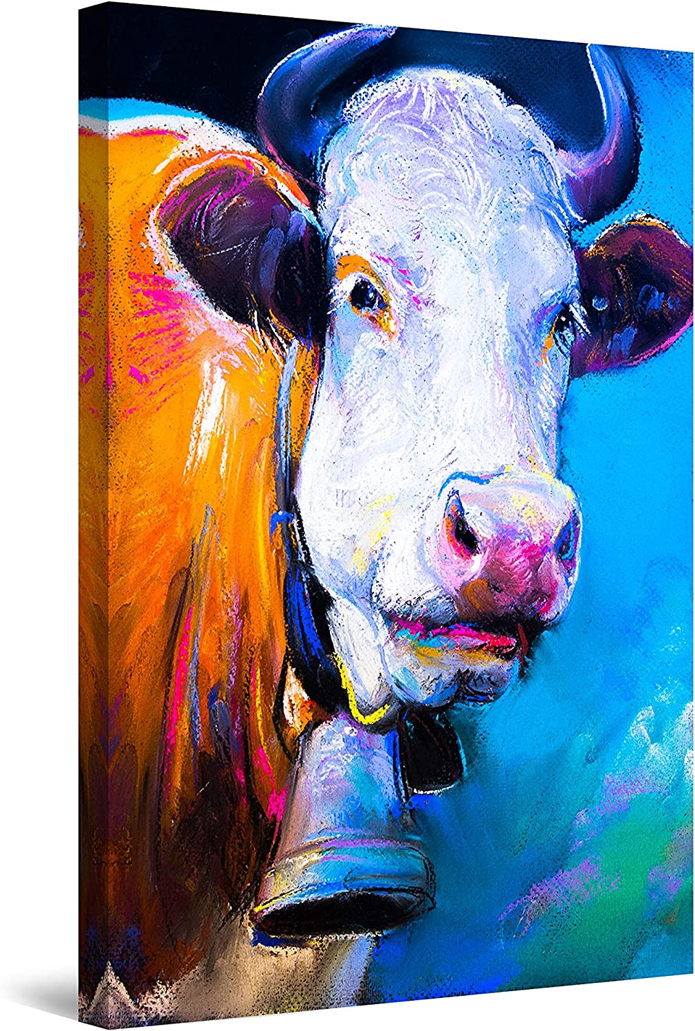Startonight 超特価 お金を節約 Canvas Wall Art Abstract - Bac with Cow Bell Blue a