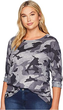 Plus Size Camoflauge Print Top