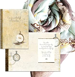 Smiling Wisdom - Our Friendship is Timeless Special Friend Greeting Card and Retro Old-Fashioned Clock Scarf - Women Best BFF Bestie - Pale Blue, Gold, Gray