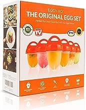 EGGY YO Hard Boiled Egg Maker: 5 in 1 Egg Cooker Set with 6 Silicone Cups, Holder, Brush, White Separator, Timer - Make Hard Boiled Eggs Without the Shell - As Seen on TV Egg Boiler