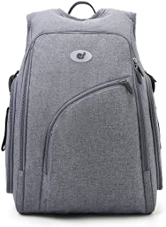 ECOSUSI Diaper Bag Fully-opened Diaper Backpack Travel Baby Nappy Bag with Changing Pad, Insulated Pockets, Grey