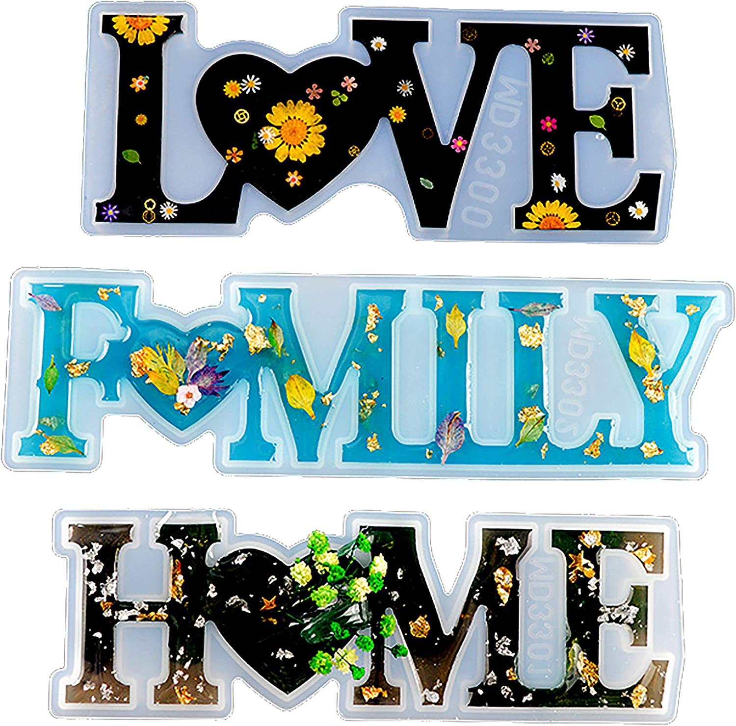 Cedilis 3 Pack Resin Word Limited time cheap sale Max 55% OFF Mold Love Hom Design Unique Sign