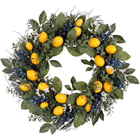 Valery Madelyn 24 Inch Spring Fruit Wreath With Artificial Lemons Blueberry And Green Leaves Fall Autumn Wreath For Front Door And Home Decoration Kitchen Dining
