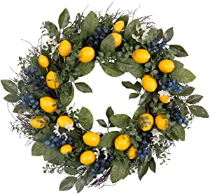 Valery Madelyn 24 Inch Spring Fruit Wreath with Artificial Lemons, Blueberry, and Green Leaves, Spring Fruit Wreath for Front Door and Home Decoration