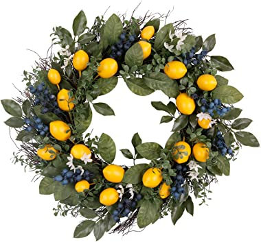 Valery Madelyn 24 Inch Spring Fruit Wreath with Artificial Lemons, Blueberry and Green Leaves, Fall Autumn Christmas Wreath f