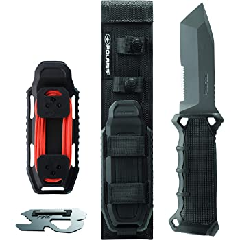 Polaris 10-Inch Hunting and Survival Tanto Blade Knife With Twice Injected Glass-Filled Nylon Handle with Integrated Knife Sharpener, and Multi-Tool Included.