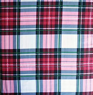 Arctic Holiday Bedding 3 Piece Cotton Twin Size Single Bed Sheet Set Red Black Green Stripes Tartan Plaid Pattern on White