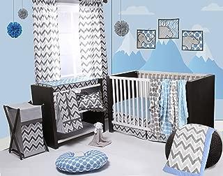 Bacati Ikat Chevron Muslin 10 Piece Crib Set with 2 Sheets, Blue/Grey