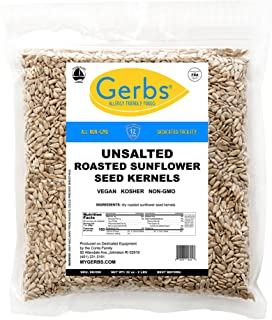 Unsalted Sunflower Seed Kernels by Gerbs – 2 LBS - Top 14 Food Allergy Free & NON GMO - Vegan & Kosher - Dry Roasted Hulled Seeds Grown in USA