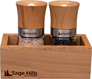 Beechwood Salt and Pepper Grinder Set with Matching Hardwood Display Box