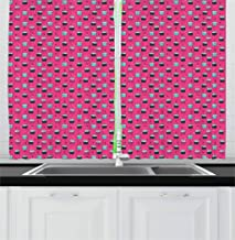 Lunarable Dessert Kitchen Curtains, Yummy Cupcakes with Sprinkled Icing on Hot Pink Background with Doodle Hearts, Window Drapes 2 Panel Set for Kitchen Cafe Decor, 55