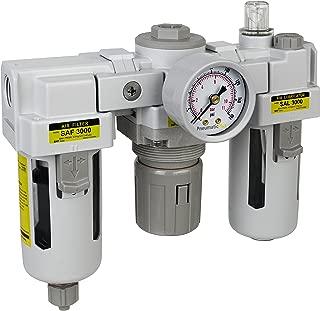 PneumaticPlus SAU3000M-N03G 3 Unit Combo Compressed Air Filter Regulator Lubricator, 3/8