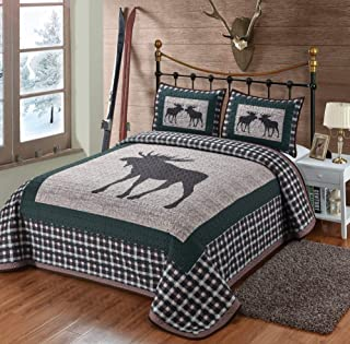 Moose Plaid Quilt 3 Pieces King Quilt Set, Quilt with 2 Pillow Shams, Rustic Lodge Cabin Mountain Style Bedding