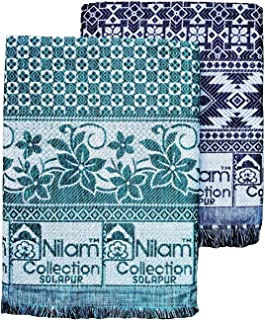 Nilam collection Solapur chaddar single bed cotton blanket Full size appx 5x7.5 feet Navy Blue and Brown colour Set of 2 C...