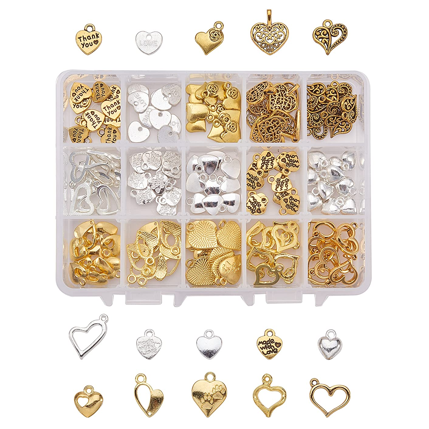 PandaHall Elite About 150 Pcs Tibetan Style Alloy Heart Charm Pendants 15 Styles for Jewelry Making Silver and Gold