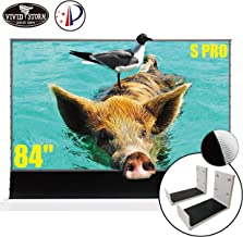 VIVIDSTORM S PRO Ultra Short Throw Laser Projector Screen,White Housing Motorized Floor Rising Screen 84 inch Ambient Light Rejecting Screen with a Set of White Wall Brackets VWSDSTUST84H