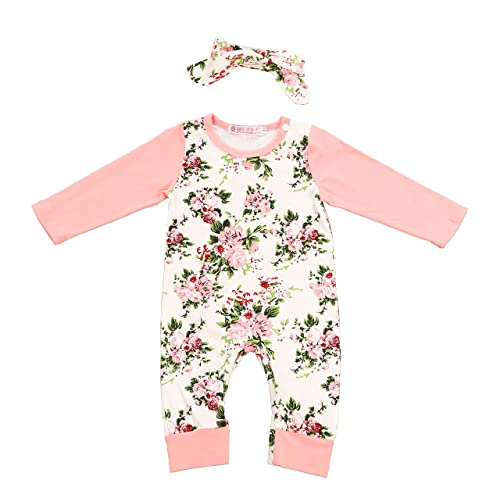 82cbc9fa642 Newborn Baby Girl Clothes Floral Long Sleeve Footless Romper Jumpsuit Cotton
