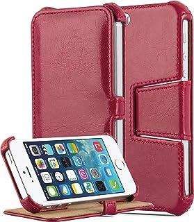 Cadorabo Funda para Apple iPhone 5 / iPhone 5S / SE Funda de Cuero Sintético Hot Stand en Rojo PASIÓN – Cubierta Protectora Estilo Libro SIN Cierre Magnético y Función de Suporte – Etui Caja