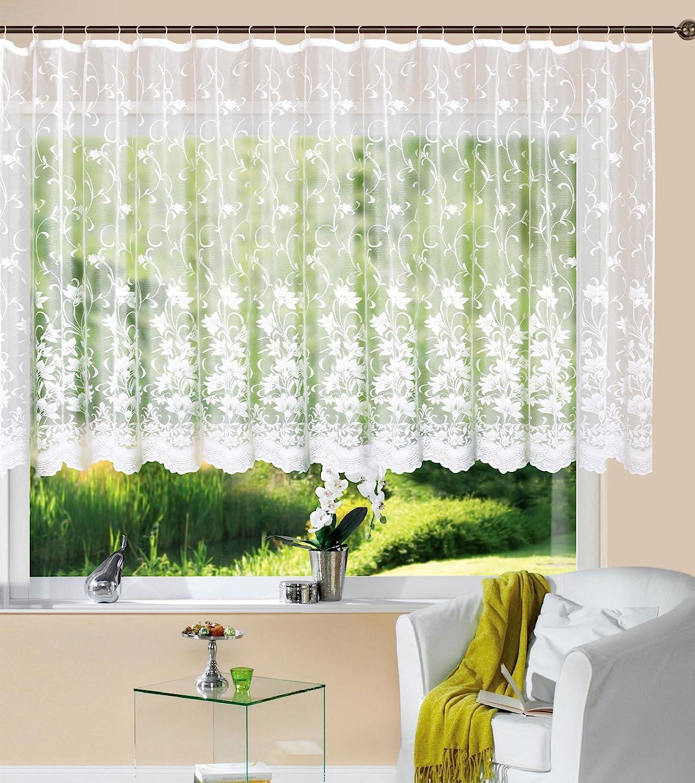 Gardine Store Kurzstore Jacquard Koblenz HxB 12x12 cm Kräuselband  Universalband Weiß Blumenmuster Transparent Voile Vorhang Wohnzimmer