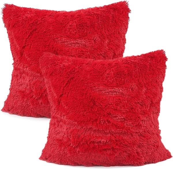 你的微笑包 2 个装饰新款奢华系列美利奴风格人造皮草抱枕套靠垫套 18x18 红色