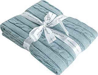NTBAY Cotton Cable Knit Toddler Blanket, Super Soft Warm Multi Color Baby Blanket, 30 x 40 Inches, Baby Blue