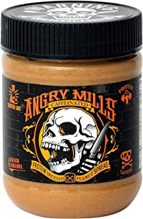 Angry Mills Whey Protein Isolate-Infused Peanut Spread by Sinister Labs - Caffeinated - (12 oz jar) (Killer Caramel, 1-Pack)
