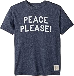 The Original Retro Brand Kids Peace Please Short Sleeve Mocktwist Tee (Big Kids)