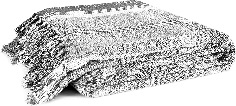sof/á o sill/ón color azul marino EHC Highland 150 x 200 cm Manta de algod/ón para cama doble