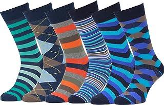 Easton Marlowe Calze Uomo 6 Pack Fantasia Calzini Uomo Cotone Metà Polpaccio Colori Luminosi