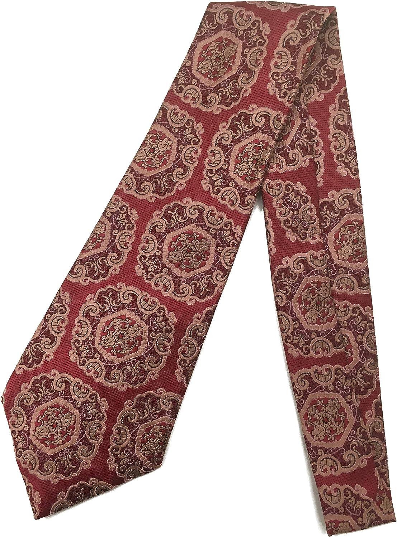Boho Tapestry Vintage Tie - Jacquard Weave Wide Kipper Necktie Burgundy