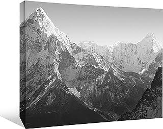 "JP London BWMCNV2356 2"" Thick Heavyweight Black & White Gallery Wrap Canvas Mt Everest Mountain Peak Summit Wallpaper, 36 ..."
