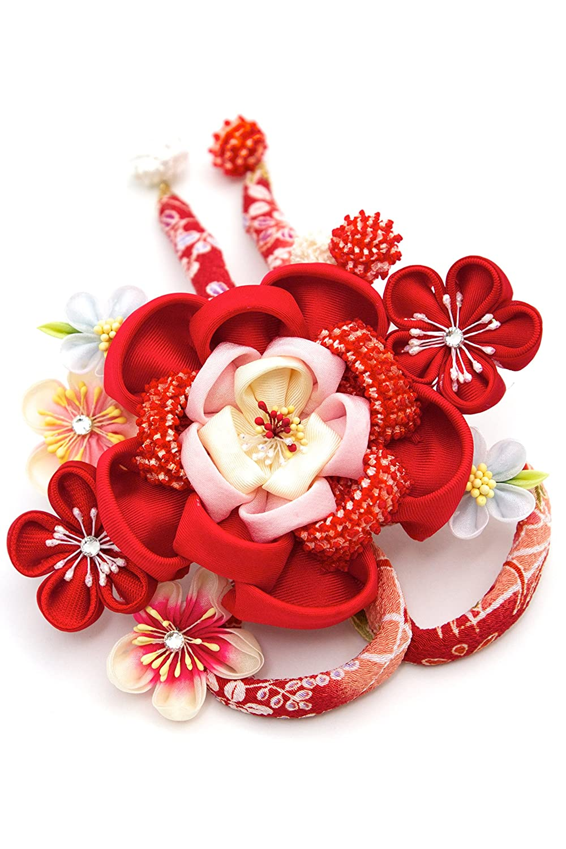 (ソウビエン) 髪飾り つまみ細工 赤 牡丹 桜 梅 ビーズ コーム