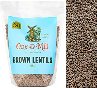 One in a Mill Whole Dried Brown Lentils 4lb Bulk Resealable Bag   All-Natural Plant-Based Protein for Soup,...
