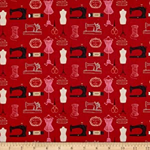 STOF France Digital Le Quilt Couturiere Rouge Fabric