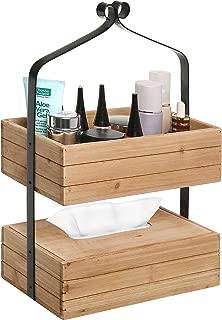MyGift Rustic Style 2-Tier Natural Wood & Black Metal Home Storage Organizer Rack/Tissue Holder Box
