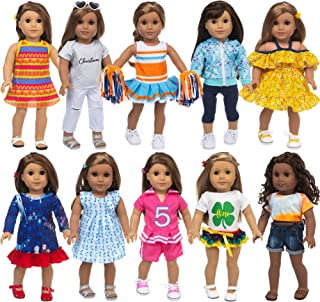 Ecore Fun 10 Sets 18 Inch Doll Clothes and Accessories Doll Outfits Pajamas Dresses Cheerleader Uniform Fit for 18 Inch Gi...