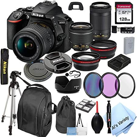Nikon D5600 DSLR Camera with 18-55mm VR and 70-300mm Lenses + 128GB Card, Tripod,Back-Pack,Filters, 2X Telephoto Lens, HD Wide Angle Lens, Hood, Lens Pouch, and More (28pcs)