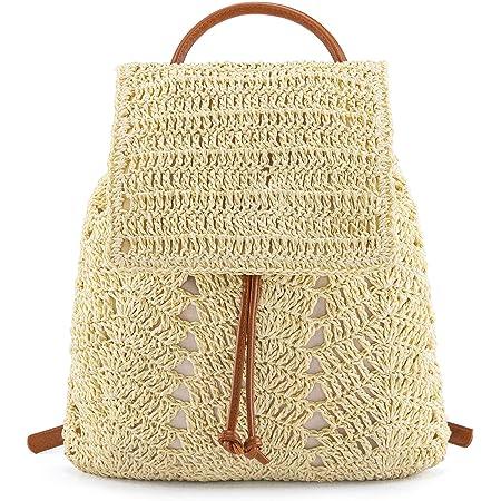 CHIC DIARY Damen Strohtasche Stroh Rucksack Mode Tagesrucksack geflochtene Schultertasche Sommer Strandtasche