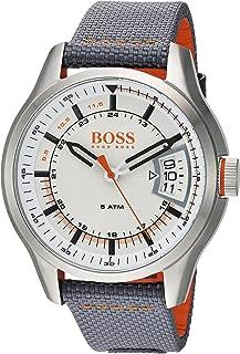 HUGO BOSS Men's HONG KONG SPORT Stainless Steel Quartz Watch with Nylon Strap, Grey, 22 (Model: 1550015)