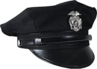 US Police 8 Point Visor Cap - Black (Small)