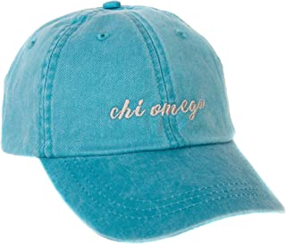 Chi Omega (N) Sorority Baseball Hat Cap Cursive Name Font chi o