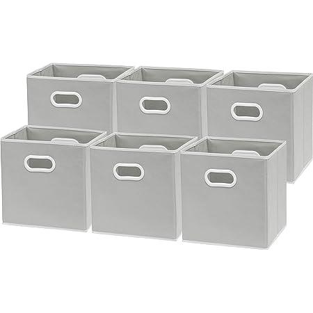6 Pack - SimpleHouseware Foldable Cube Storage Bin with Handle, Grey