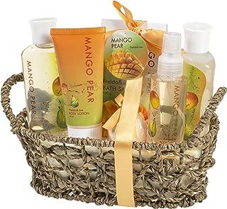 Aromatic Autumn Mango-Pear Home Spa Experience: Women's Fall Season Gift Set Features Shower Gel, Bubble Bath, Bath Salt, Body Lotion, Body Spray, and Bath Fizzer in Delicate Woven Basket