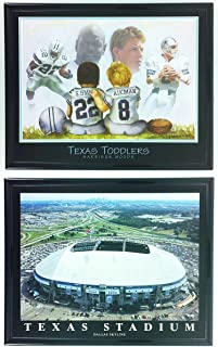 Football Texas Toddlers Legends with Texas Stadium Framed