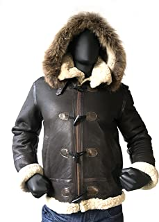 Men B-3 Genuine Shearling Leather Bomber Jacket Winter Aviator Coat Real Fur Hood and Wood Toggle Closure