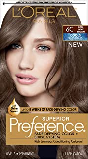 L'OrÃal Paris Superior Preference Fade-Defying + Shine Permanent Hair Color, 6C Cool Light Brown, 1 kit Hair Dye , 1 Count