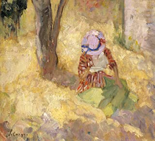 Henri Lebasque Young Girl Reading a Book Painting - Oil on Canvas 30