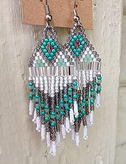 Silver Smoky Iris Purple & Teal Native American Inspired Beaded Earrings