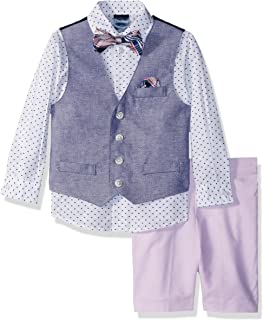 Nautica Boys Four-Piece Solid Twill Vest Set with Bow Tie Suit
