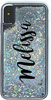 MARBLEFY Personalized Handwriting Name Holographic Diamond liquid sliver dust case for iPhone Xs Max/Xr/Xs/8/7/6 Plus Protective Shockproof Sturdy Case